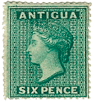 Forged-stamps-of-Antigua-six-pence
