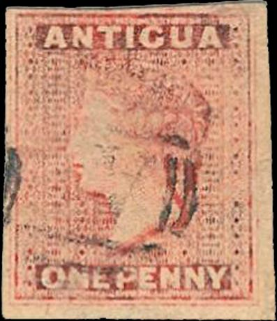 Antigua_1863_QV_1p_Imperforate_Forgery
