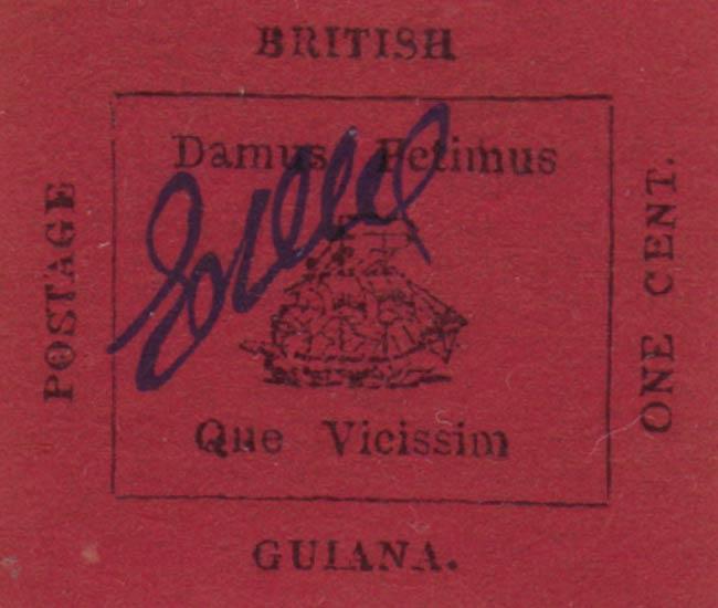 British_Guiana_1856_1c_Magenta_Winter_Forgery