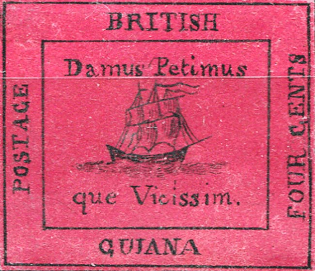 British_Guiana_1856_4c_red_Forgery