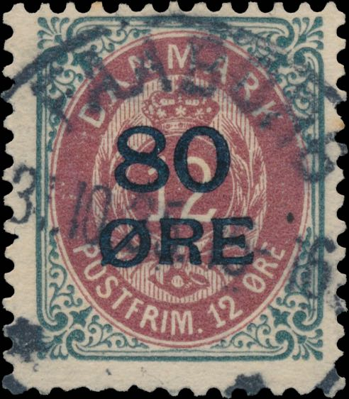Denmark_1915_Bicolored_80øre_overprint_genuine