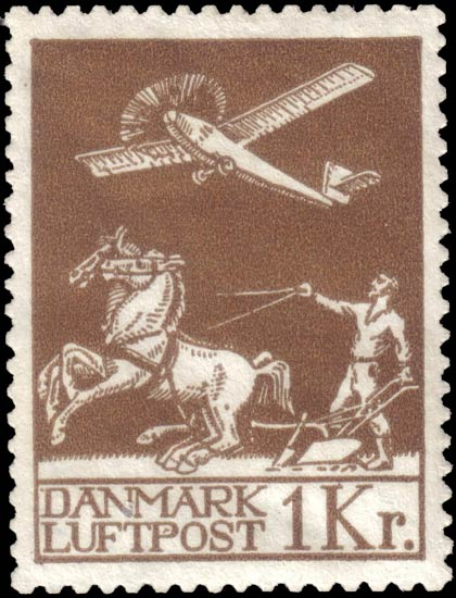 Denmark_1925_Airmail_1krone_Forgery1