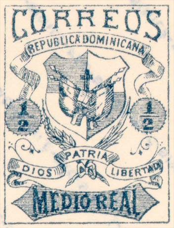 Dominican_Republic_1879_Medio-blue_Fournier_Forgery