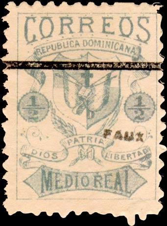 Dominican_Republic_1879_Medio-green_Fournier_Forgery