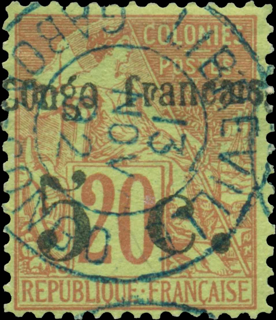 French_Congo_5c-on-20c_Forgery