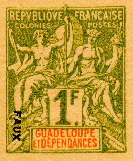 Guadeloupe_1892_1f_Hirschburger_Forgery
