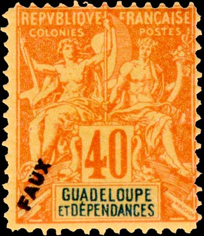 Guadeloupe_1892_40centimes_Fournier_Forgery