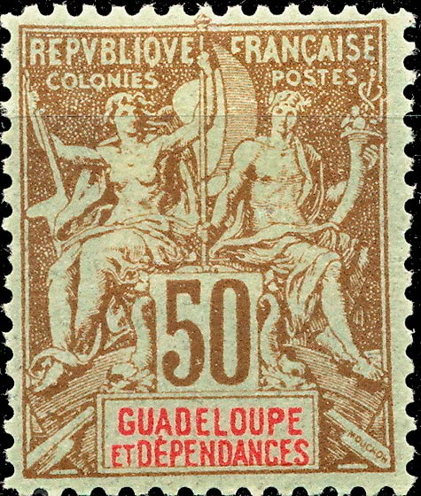 Guadeloupe_1892_50c_Hirschburger_Forgery