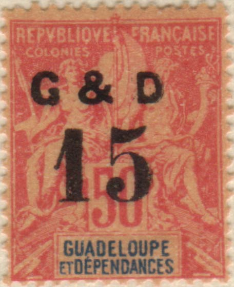 Guadeloupe_1903_G_and_D_15_50c_Hirschburger_Forgery