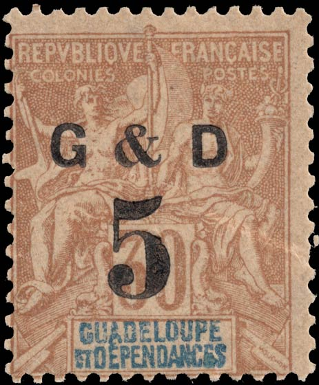 Guadeloupe_1903_G_and_D_30c_Genuine