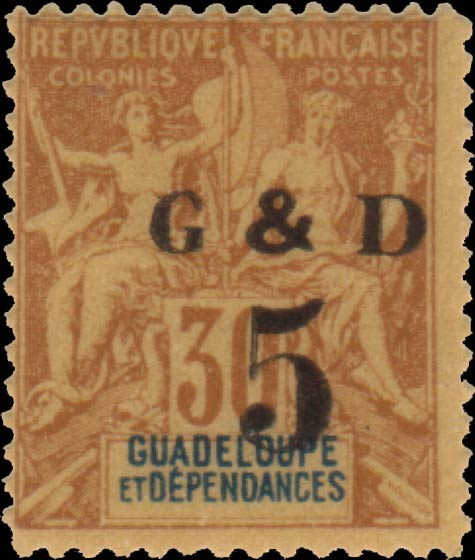 Guadeloupe_1903_G_and_D_30c_Hirschburger_Forgery