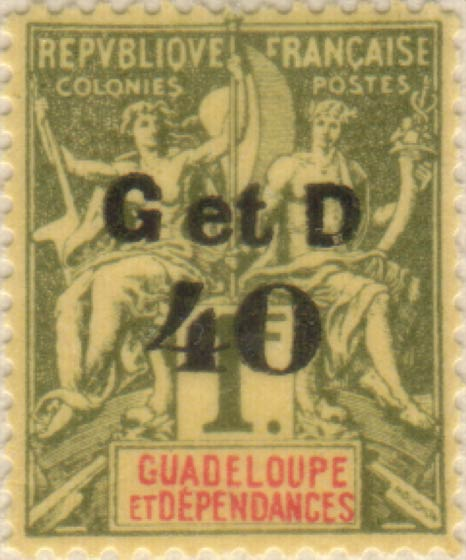 Guadeloupe_1903_G_et_D_40_1f_Hirschburger_Forgery