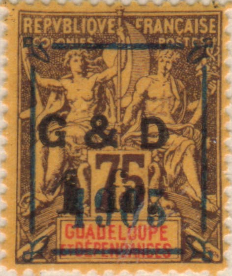 Guadeloupe_1904_G_and_D_1903_1f_75c_Hirschburger_Forgery
