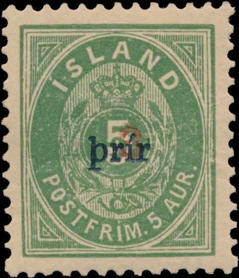 Iceland_1897_5aur_3prir_Surcharge_I_Genuine