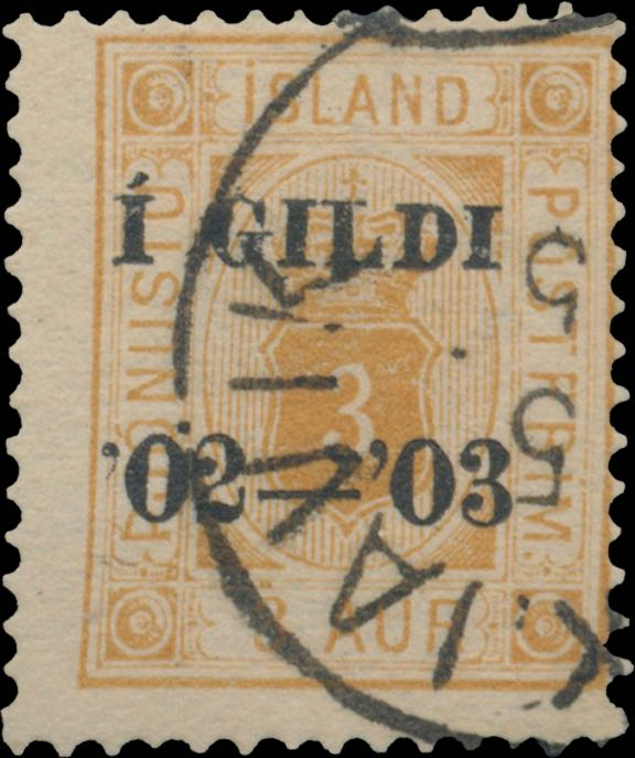 Iceland_1902_Official_3aur_Gildi_Genuine