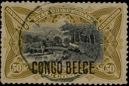 Belgian_Congo_1909_Congo-Belge_Overprint_50c_Forgery
