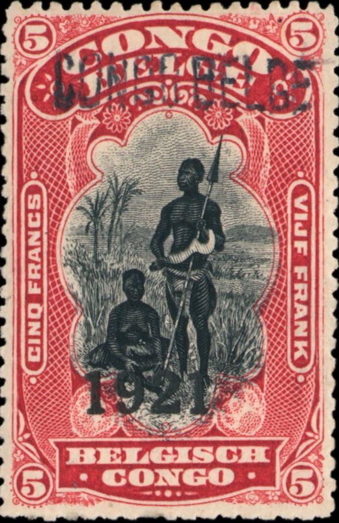 Belgian_Congo_1921_Congo-Belge_Overprint_type3_5f_Genuine