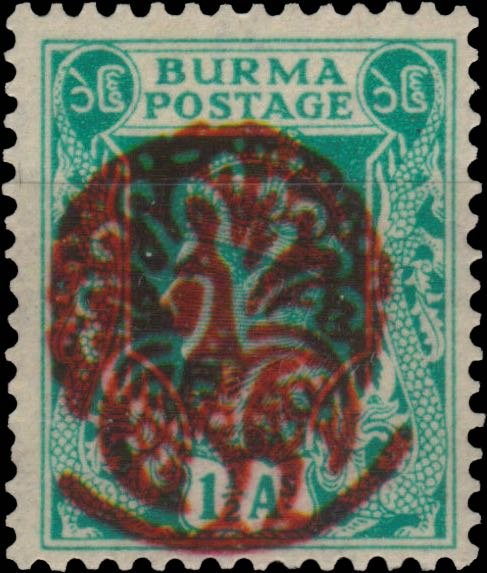Burma_1-5As_Peecock_Overprint_Forgery