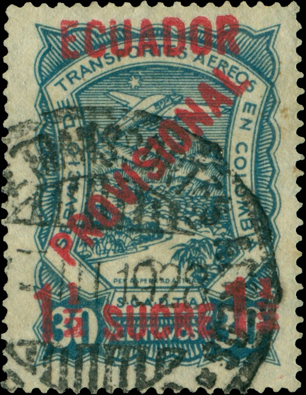 Ecuador_1928_Airmail_1.5on30c_Forgery