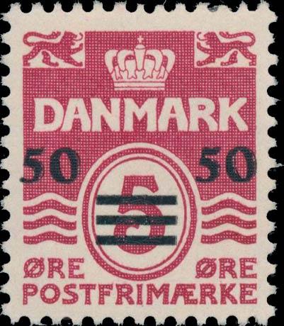 Faroe_Islands_1941_5ore_Surcharge50_Genuine