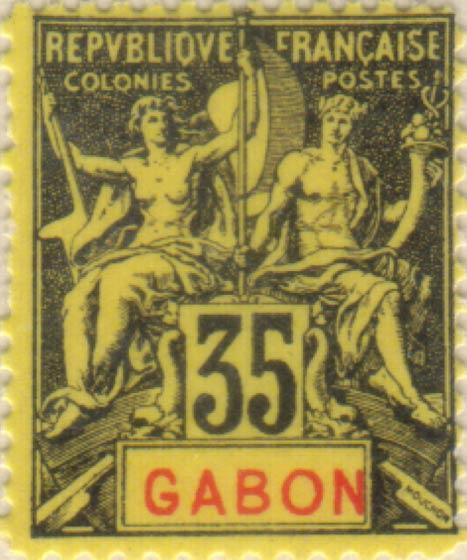 Gabon_1894_35c_Hirschburger_Forgery