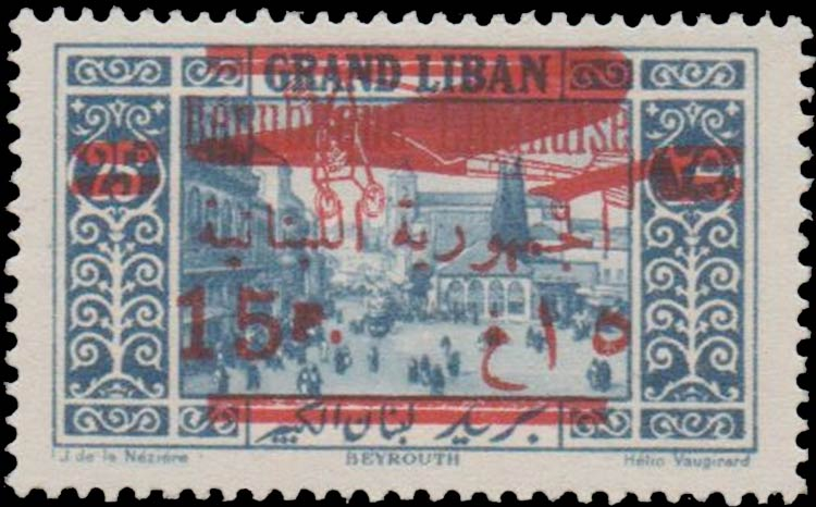Lebanon_1928_Airmail_15p_on_25p_Forgery
