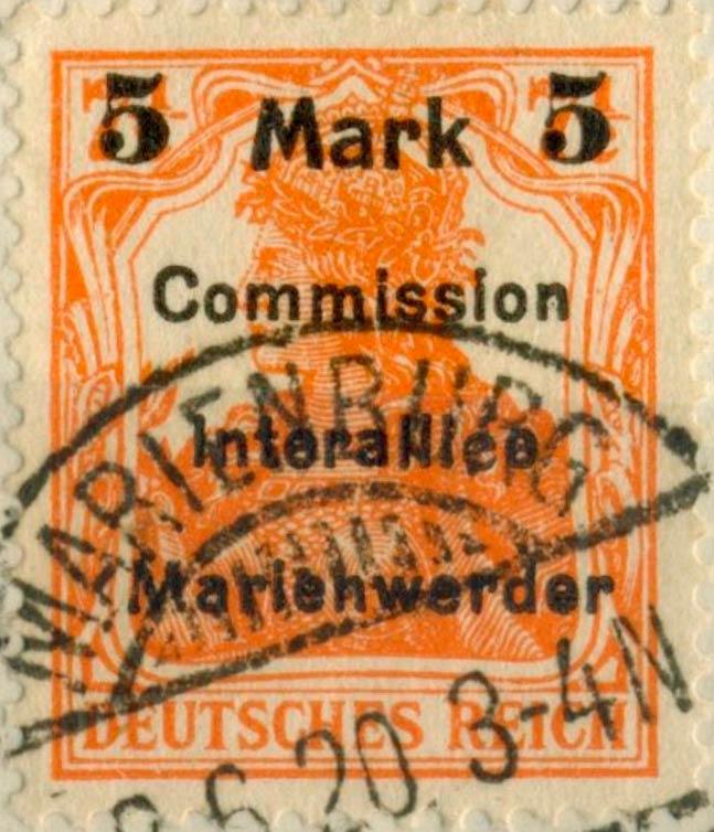 Marienwerder_1920_Germania_5m-on7.5pf_Genuine