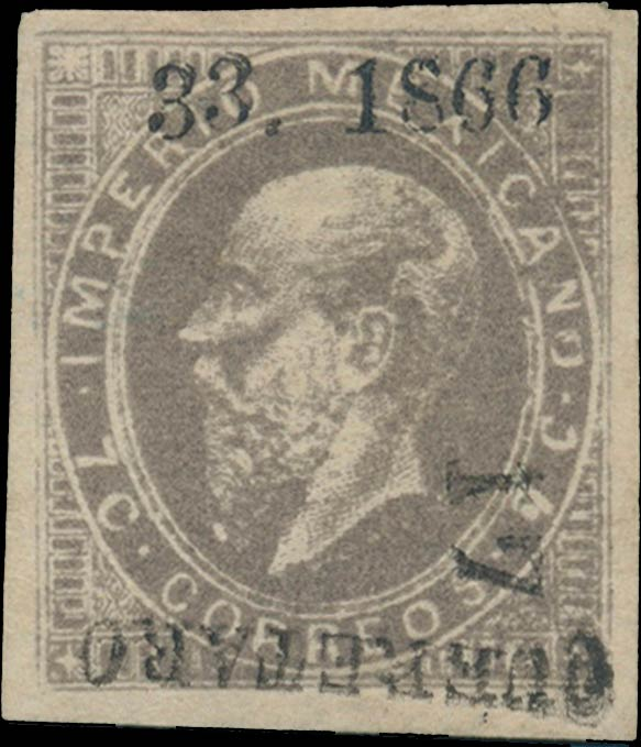 Mexico_1866_7c_III_Queretaro_Genuine