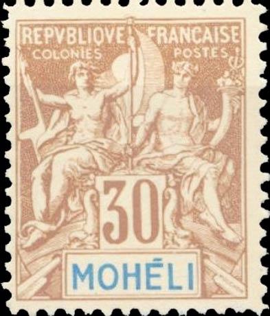 Moheli_1892_30c_Modern_Forgery
