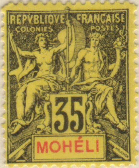 Moheli_1892_35c_Hirschburger_Forgery