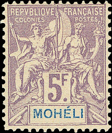 Moheli_1892_5f_Genuine