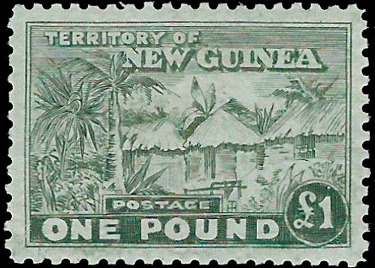 New_Guinea_1925_Huts_1pound_Forgery