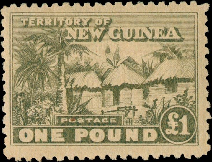 New_Guinea_1925_Native_Huts_1pound_Genuine