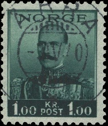 "1937-38 King Haakon 1 Krone with forged ""Åkra -31V40 *"" postmark"