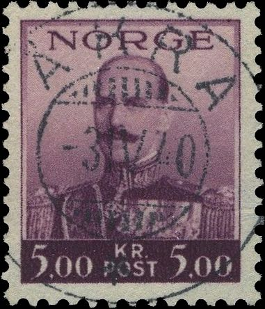 Norway_Haakon5kr_Akra_Forged_Postmark