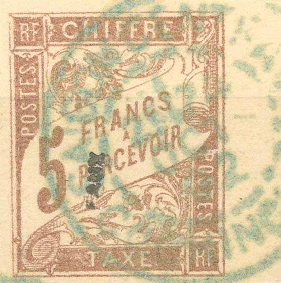 1892_Indo_China_Postage_Due_French_Colonies_5f_Fournier_Forgery