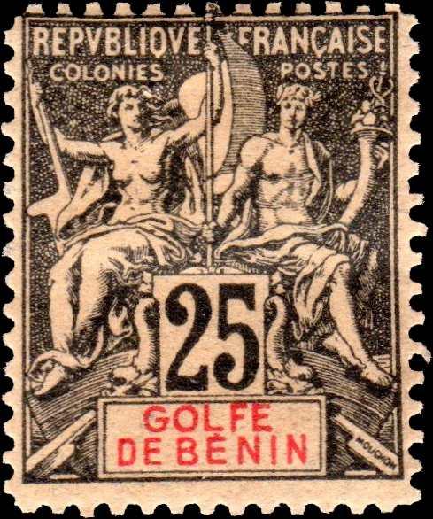 Benin_1893_Allegory_25c_GOLFE_DE_BENIN_Hirschburger_Forgery