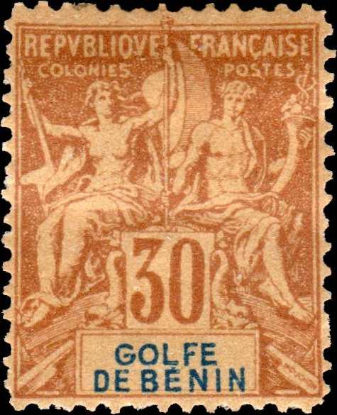 Benin_1893_Allegory_30c_GOLFE_DE_BENIN_Hirschburger_Forgery