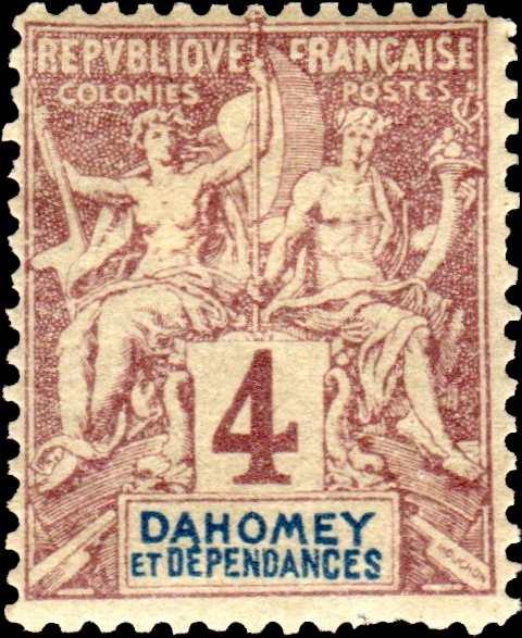 Dahomey_1892_4c_Hirschburger_Forgery