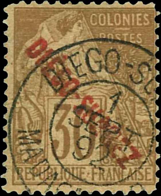 Diego_Suarez_1892_30c_Surcharged_Diego-Suarez_Forgery