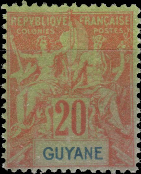 French_Guyana_1892_20c_Hirschburger_Forgery