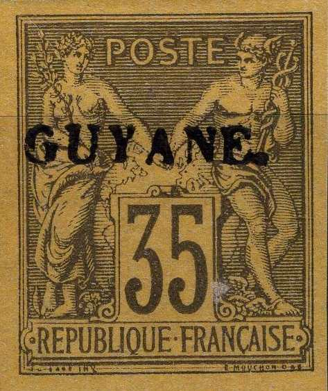 French_Guyana_1892_35c_Forgery