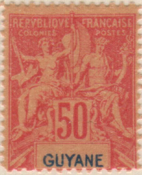 French_Guyana_1892_50c_Hirschburger_Forgery