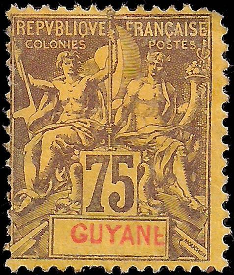 French_Guyana_1892_75c_Genuine