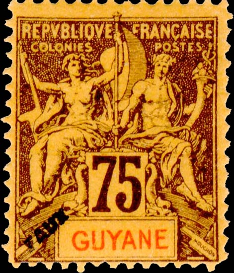 French_Guyana_1892_75c_Hirschburger_Forgery1