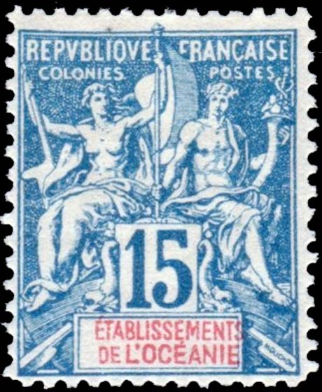 French_Polynesia_1892_15c_Hirschburger_Forgery