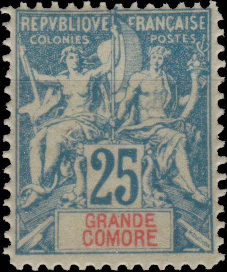 Grande_Comore_1892_25c_Hirschburger_Forgery