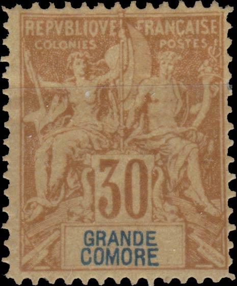 Grande_Comore_1892_30c_Hirschburger_Forgery