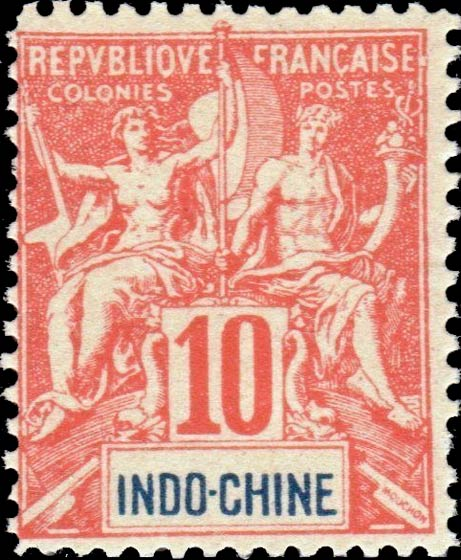 Indo_China_1892_10c_Hirschburger_Forgery