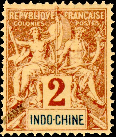 Indo_China_1892_2c_Hirschburger_Forgery